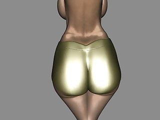 Cartoon with sperm gold medal winner Big gold bum 3d