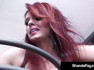 Backstreet bangers redhead Horny dildo banger shanda fay gets off on glass table w toy