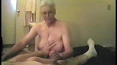 busty granny sensual handjob