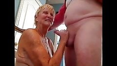 Grandma giving blowjob to her hubby and get cum on breast