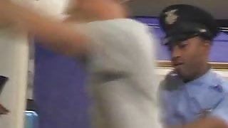 Ebony cop's dick in action
