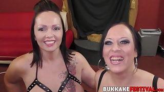 Busty babes Samantha and Tiffany Morriss blowbanged
