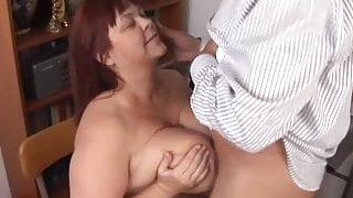 Super sexy busty old spunker gives a sloppy blowjob