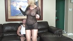 Bad Stepmother Grinds a Young Stud into the Couch