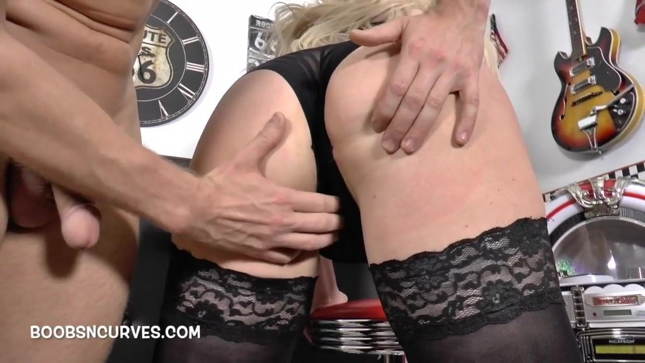 Mature blonde with big tits fucked by a big cock