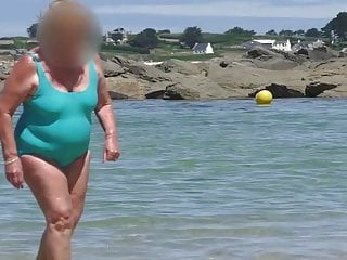 Sexy brazilian swimsuit - Beautiful sexy granny in the wet turquoise swimsuit