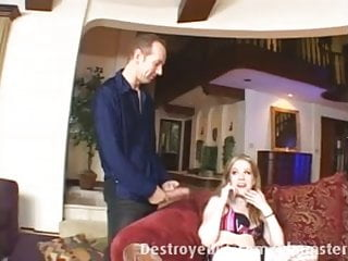 Gags on white cock - Blond teen gags on a big white cock