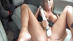 Milf masturbates in back of truck and in her car in public