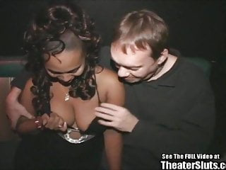 Free gangbanged porno Black college chick gangbang in porno theater