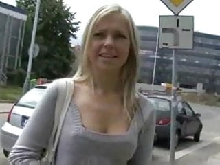 Handjob for cash Blonde babe shows her tits and gives a handjob for cash