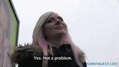 HornyAgent Blonde stunner shows sexy black underwear