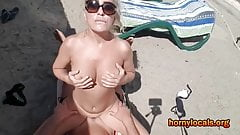 Hard sex on the beach with hot blonde MILF