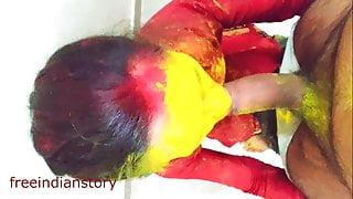 Indian Colorful Holi with bhabhi