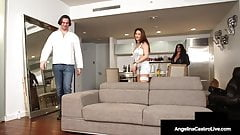 smoking hot step mom Angelina Castro Curvy Babes Angelina Castro & Roberta Gemma Share Hard Cock! jerk off
