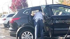 Milf getting under those seats at car wash