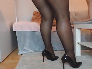 Legs pantyhose heels Black pantyhose legs and high heels