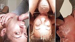 Tiny slut Candy Girl enjoys a sloppy upside-down throatfuck