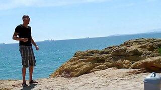 Fotograf am Strand nicht nur das Wasser fotografiert