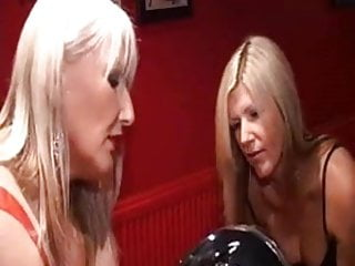 Femdom sissy sucking Brit dommes sissy sucks cock