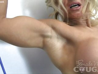 Sexy work out clothing - Sexy blonde muscle cougar with big tits works out