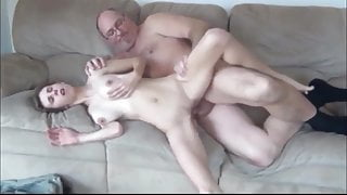 Skinny girl with hairy pussy and big boobs with old man