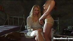 Beautiful teen lesbian slaves