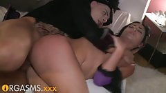 ORGASMS Sinful raven haired babe summons Halloween lover