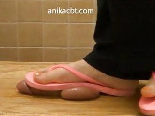 Worn condoms - Crushing your balls in dirty, worn flip flops