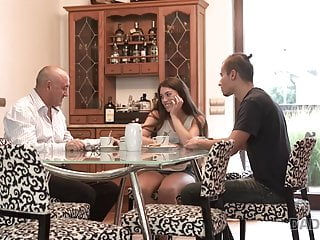 Teens having sex with father Daddy4k. having good time with father of her bf