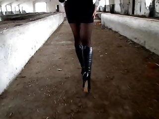 Milf high heel boots - Karina in nylon pantyhose and high-heel boots