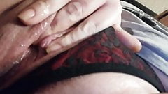Bubblecum slut plays with panties to the side