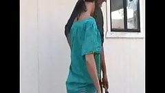 Girl is spanked OTK with Hand & Haitbrush in Jeans & bare