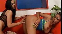 Filthy whore Ice La Fox has wild wet lesbian fun