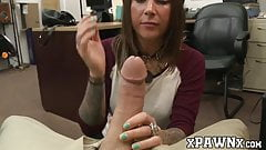 Tattooed brunette amateur pussy stretched at kinky pawnshop