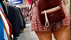Candid Voyeur Thick Latina in cheeky romper