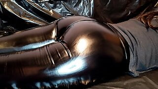 Massage and Sperm Smearing on Sexy Ass in Leather leggings