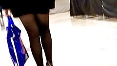 Nasty candid with ok legs walking in sex skirt and stocking