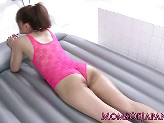 Best sex toy lube Japanese milf lubed up and stuffed with dildo