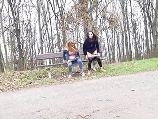 Europeon girls pissing in public - Girls pissing together in park