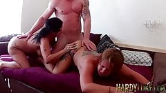 Busty Cheyenne and Philippa drilled hard after pussy licking