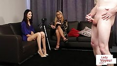 British voyeurs direct jerking sub from couch