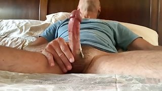 Sexy daddy jerking off his nice hairy cock, thick white load