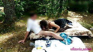 sex in the woods with a sexy beauty