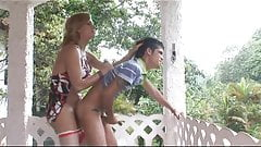 Sexy Adryella fucks guy on the porch