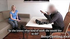Casting Creampie for hot blonde amateur in casting