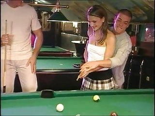 Billard lesbian Billard turns into hot threesome with dp