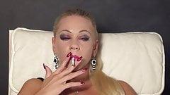 Beautiful blonde smoking