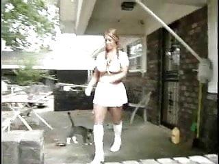 Lesbian cheerladers Cheerlader in miniskirt