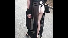 Walking in seethrough split dress