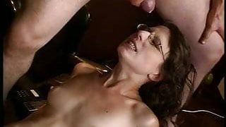 MILF gets cum on her glasses